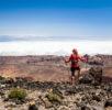Woman walking in mountains